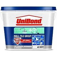 UniBond - Lechada triple protección antimoho para azulejos (1 L), color blanco