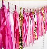 16x Hot Pink Seidenpapier Quasten für Party Hochzeit Gold Girlande Wimpelkette Pom Pom