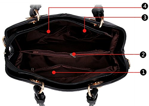 Tibes Frauen Schultertasche Satchel Handtasche Geldbörse Rot A Beige