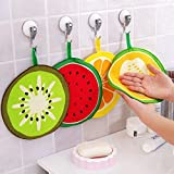 #5: Perfect Life Ideas 4 Pcs Fruit Print Kitchen Bathroom Hanging Washbasin Hand Towels- Multicolor