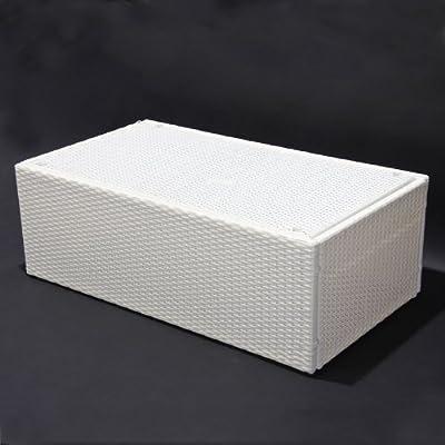 Modulares Poly-Rattan Sofa Rom 110x60 cm ~ creme-weiß, Tisch mit Glasplatte