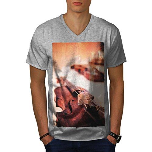 wellcoda Geige Instrument Musik Männer L V-Ausschnitt T-Shirt