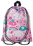 Aminata Kids - Kinder-Turnbeutel für Mädchen und Damen mit Unicorn Sache-n Pferd-e Haus-Tiere Einhorn Sport-Tasche-n Gym-Bag Sport-Beutel-Tasche rosa pink Weiss Wolke-n Regenbogen Stern-e