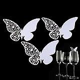 50piezas Tarjeta de papel de cristal Butterfly Place Escort vino para el banquete de boda Inicio decoración del hotel de la tarjeta - Blanco