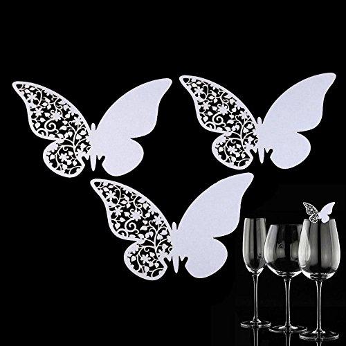 50pcs Mariposa papel copa de vino de cristal nombre número lugar tarj