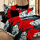 PRINZIP Poly Cotton Floral Printed Reversible Double Bed AC Blanket/Dohar,Standard(80x85 Inches) Black