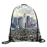 DSGFSQ Sporttaschen Turnbeutel Los Angeles Skyline Gym Beam Port Drawstring Shoulder Travel Canvas...