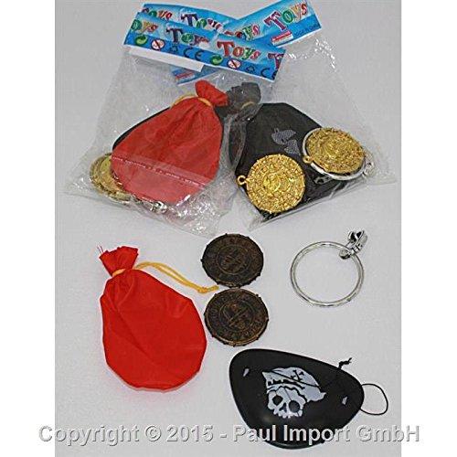 5-teiliges * KINDERPIRATEN * Set für Kinder mit Augenklappe + Goldsäckchen + Goldtaler und großen Ohrring mit Clip // Verkleidung Piraten Party Kindergeburtstag Geburtstag Schatzsuche Schatz ()
