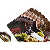 Lithara Abstract Printed Table Mats - (Set Of 6pcs + 6Pcs Coaster)