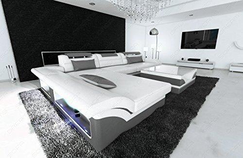Design MONZA l-forme moderne Canapé d'angle avec éclairage blanc - Gris