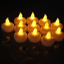 Alfaled 12unidades impermeable sin llama Led vela calientaplatos vela flotante luz para casa fiesta de boda bar decoración floral.