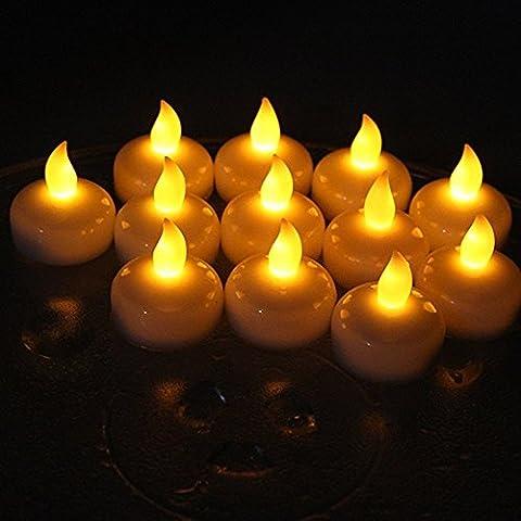 Alfaled 12pcs étanche sans flamme LED bougie chauffe-plat Bougie flottante lumière pour maison fête de mariage Bar Décoration florale - blanc chaud