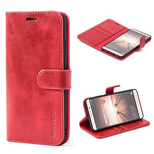 Mulbess Ledertasche im Ständer Book Case / Kartenfach für Huawei Mate 9 (5,9 Zoll) Tasche Hülle Leder Etui,Wine Rot
