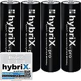 4er Pack hybriX pro Black AA - 4x Mignon AA Hybrid Akkus in Box - Die Neue Generation von Hybrid Akku Batterien
