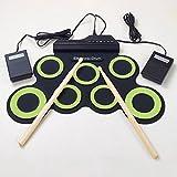 Leaftree nueva versión Micro USB portátil Roll Up batería electrónica, negro y verde