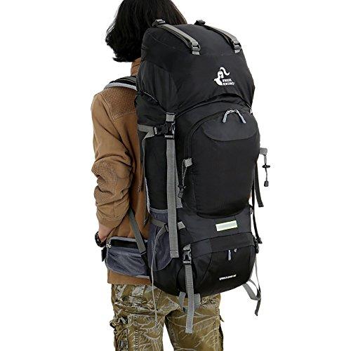 Wanderrucksacke, Skysper 60L Trekkingrucksäcke Outdoor Wasserdichte Reiserucksack mit Regenhülle für Sport und Bergsteigen Schwarz
