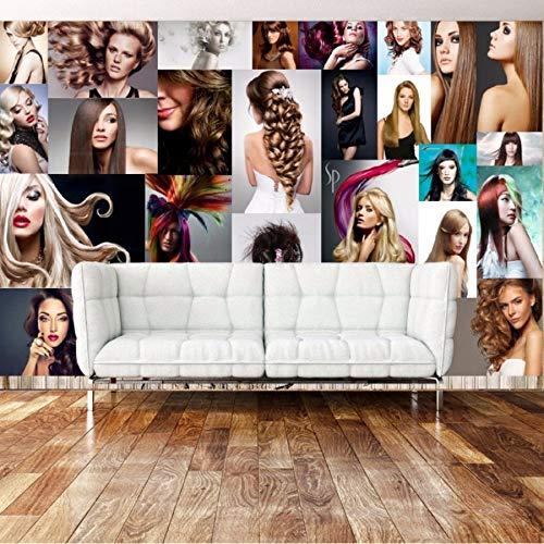 Kuamai Fototapete Benutzerdefinierte Tapete Moderne Wind Schönheit Friseursalon Friseursalon Hintergrund Wandbild Tapete Wandbild-400X280cm