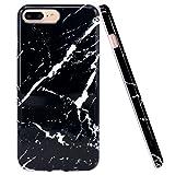 JIAXIUFEN Coque iPhone 7 Plus, Coque iPhone 8 Plus, Silicone TPU Étui Housse Souple Antichoc Protecteur Cover Case - Noir Marbre Désign
