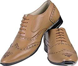 3-Strips Tapps Tetra-3009 Genuine Leather Formal Shoes Lace Up (Tan)