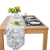 Tischläufer Modern Leinen Baumwolle Palmenblätter Tischläufer Natürlich für küche Restaurant Party Weihnachten Hotel Cafe Hochzeit Tisch Dekoration 30×200cm Weiß