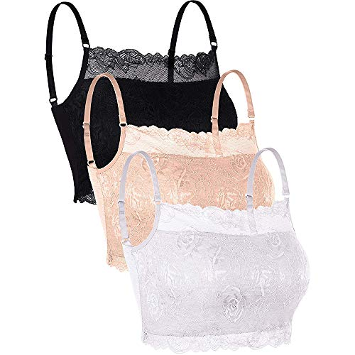 Vertvie Damen BH Bustier Unterwäsche & Dessous Spitze Bralette ohne Bügel Triangle-BH Push Up Bra Sexy Top 3er Pack Sets(S, Schwarz+Weiß+Hautton)