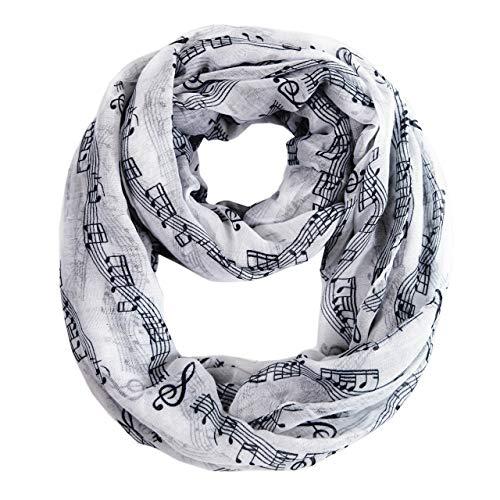 DiaryLook morbida sciarpa da donna stampata con graziose note musicali 12White Taglia unica