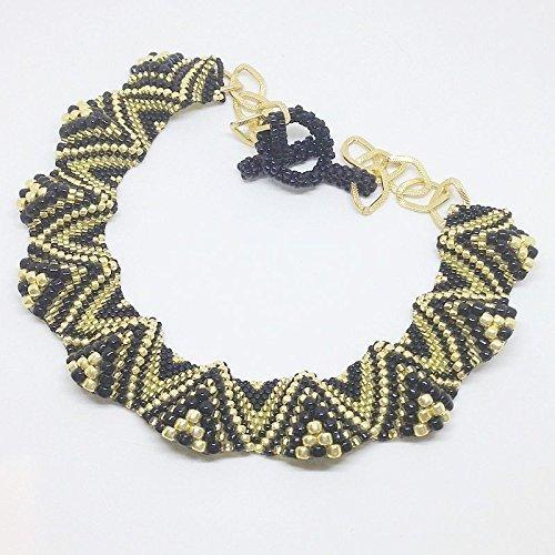 Collana onde dorata e nera con perline, collana peyote nera e oro, girocollo ondulato collier