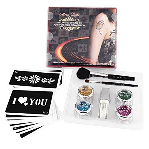 Complete Body peinture Glitter Kit de tatouage, y compris 4 couleurs paillettes poudre 2 pcs pinceau 10 PCs pochoirs 1 PCs colle sûr non-toxique pour les parties de maquillage