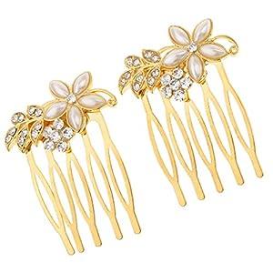 Baoblaze Braut Haarkamm Haarschmuck Haargesteck Haarnadeln Kopfschmuck, Strass und Perlen Dekoration, Geeignet für Alltag Hochzeit und Bankett