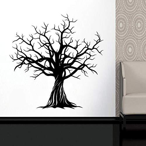 Adesivo da parete in vinile Elegante albero enorme - Decorazioni per la natura Arte Decalcomania domestica - Rimovibile Fai da te Inverno Ramo di un albero Adesivo Soggiorno Bianco L 90x91cm