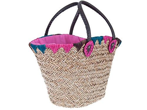 """Preisvergleich Produktbild Ibiza-Stroh-Korbtasche """"La Playa"""" natur, handgeflochten mit Innenfutter, Strandtasche, Shopper"""