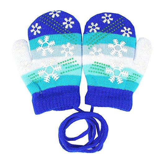 EROSPA® EROSPA® Baby Winter-Handschuhe Fäustlinge Fausthandschuh Fäustel Mädchen Jungen Schneeflocke 4 Farben (Blau)