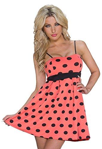 K1036 fashion4Young mini robe bandeau pour femme summer robe à col disponibles taille 34/36 Noir - Coral Schwarz