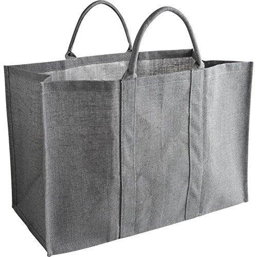 PEGANE Sac à bûches en jute coloris gris, 60 x 30 x 40 cm