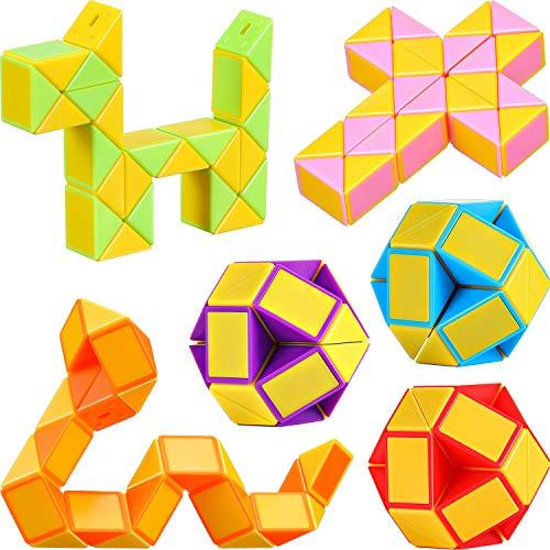 9 Stücke 24 Blöcke Mini Schlangen Würfel, Magische Geschwindigkeit Würfel, Mini Kunststoff Puzzle Würfel Spielzeug für Kinder Party Tasche Füllstoff, Party Favors Party Supplies (Zufällige Farbe B) - Kinder-blöcke