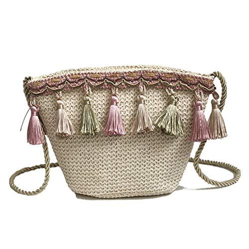 xinyus Wunderbare Lady Girls Tassel Chain Shoulder Beach Bag Straw Bag Summer Bucket Bag(None Migaho.) (Wallet Apple Womens)