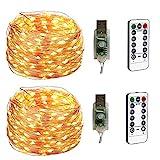 BXROIU 2 x 100LEDs Micro Lichterkette im 10M Silbernedraht USB-Anschluss mit Fernbedienung 8 Programm und Zeitwahl Dimmen (Warmweiß)