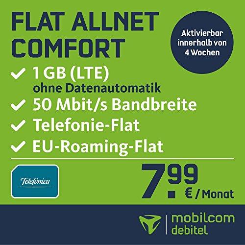 mobilcom-debitel Flat Allnet Comfort  im Telefonica Netz (7,99 EUR monatlich, 24 Monate Laufzeit, Telefonie-Flat in alle deutschen Netze, 1GB Internet Flat, LTE mit max. 50 MBit/s, Triple-Sim-Karten)