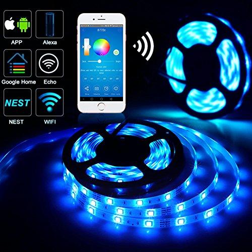 WiFi Smart LED Strip Light, Guaiboshi 5050 RGB 5M 150leds LED Strip  Lighting Kit Work