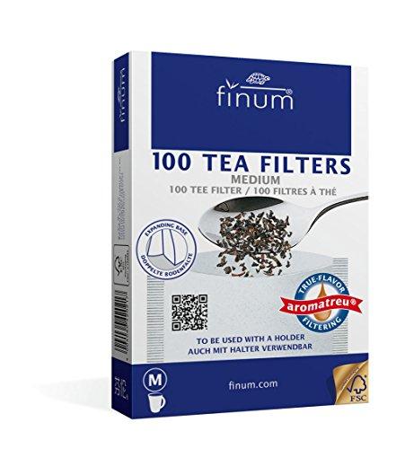 Finum Lot de 100 filtres à thé pour 6 tasses Taille M 100 x 130mm