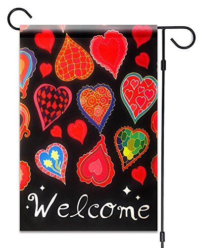 51Gruppen Valentinstag Herzen Welcome Garden Flagge Fahne Deko 30,5x 45,7cm Valentine 's Day 100% Alle Wetter Polyester Kleine Größe Banner - Garten S Fahne Ersten