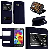 Coque Samsung Galaxy grand prime bleu marine housse étui flip cover double...