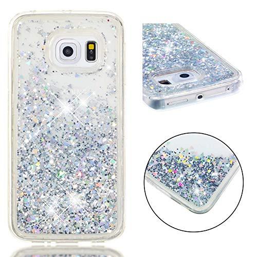 BONROY Galaxy S6 Edge Hülle, süß Netter Entwurfs-glänzender Funkeln-Bewegen Quicksand löschen TPU schützender Telefon-Kasten für Samsung Galaxy S6 Edge - Silber