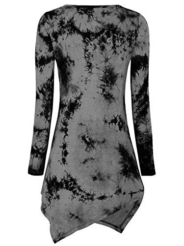 DJT Femme T-shirt Tops Blouse Manches longues Col rond Pull-over hauts Noir-Gris