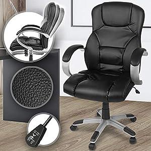 Ergonomischer Bürodrehstuhl - aus Kunstleder, mit hoher Rückenlehne, Wippmechanismus und stufenloser Sitzeinstellung, Schwarz - Chefsessel, Drehstuhl, Bürostuhl, Office Stuhl, Schreibtischstuhl