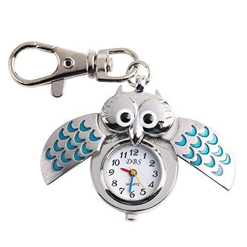 Uhren Silber Blau Karabinerverschluss Schlüssel Ring Metall Eule Form Quarzuhr