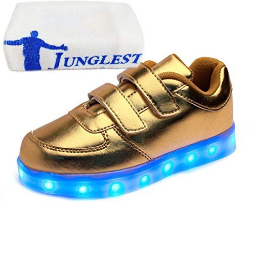 (Present:kleines Handtuch)JUNGLEST® Unisex Kids Wiederaufladbare LED leuchten Sportschuhe Luminous Flashing Glow Turns Gold