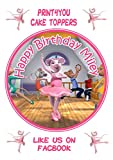 "ND1 Angelina Ballerina birthday Personalised Round Cake Topper approx 7.5"" (or smaller on request) on Icing"