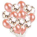 YHmall 30 Stück 12 Zoll Konfetti Luftballons Rosegold Transparente Premium Latex Glitter Ballons für Geburtstagsfeier Hochzeit Party Deko