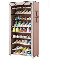 UDEAR Zapato del gabinete Zapatero de tela 10 niveles Zapateros y hormas  para zapatos Marrón 6512dd32f596